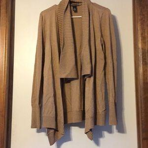 INC rayon blend tan open cardigan, M